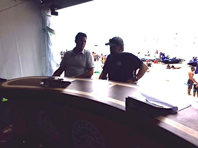 Munga enjoying the commentary box at the WSL Quicksilver Pro Gold